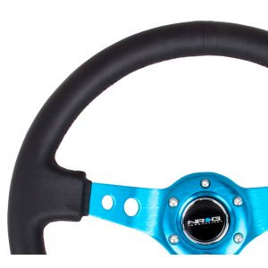 NRG ® - Sport Black Leather Steering Wheel 3 Inch Deep with New Blue Spokes (ST-006R-NB)