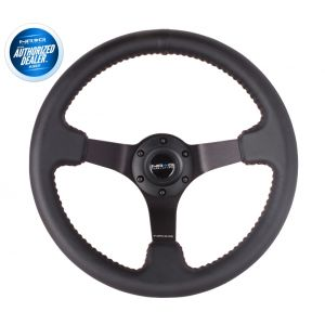 NRG ® - Sport Black Leather Steering Wheel 3 Inch Deep with Red Baseball Stitch and Black Chrome Spokes (ST-036BK)