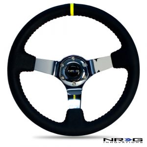 NRG ® - Sport Black Leather Steering Wheel 3 Inch Deep with Red Baseball Stitch and Chrome Spokes and Yellow Marking (ST-036CH-Y)