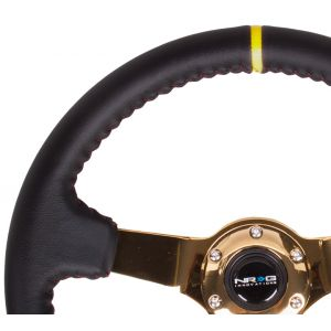 NRG ® - Sport Black Leather Steering Wheel 3 Inch Deep with Red Baseball Stitch and Gold Spokes and Yellow Marking (ST-036GD-Y)