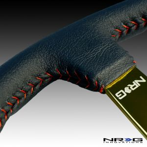 NRG ® - Sport Black Leather Steering Wheel 3 Inch Deep with Red Baseball Stitch and Gold Spokes (ST-036GD)