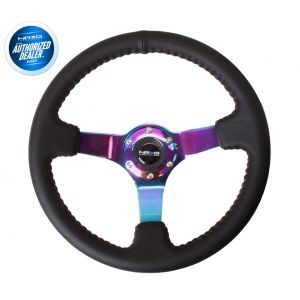 NRG ® - Sport Black Leather Steering Wheel 3 Inch Deep with Red Baseball Stitch and NeoChrome Spokes (ST-036MC)