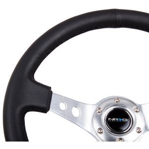 NRG ® - Sport Black Leather Steering Wheel 3 Inch Deep with Silver Spokes (ST-006R-SL)