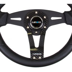 NRG ® - Sport Black Leather Steering Wheel with Carbon Center Spoke (ST-002RCF)
