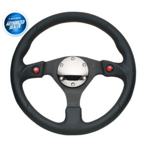 NRG ® - Sport Black Leather Steering Wheel with Dual Button (ST-007R)