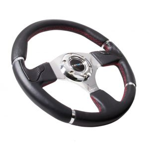 NRG ® - Sport Black Leather Steering Wheel with Red Stitching and Chrome Markings (ST-008R)