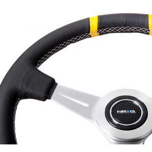 NRG ® - Sport Black Leather Steering Wheel with White Stitching and Double Yellow Marking (ST-028BK-Y)