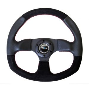 NRG ® - Sport Black Suede Oval Steering Wheel with Flat Bottom and Leather Combination (ST-009S)