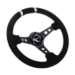 NRG ® - Sport Black Suede Steering Wheel 3 Inch Deep with Black Spokes and Silver Double Markings (ST-016S-SL)