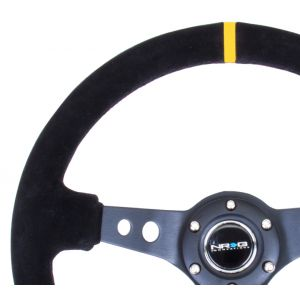 NRG ® - Sport Black Suede Steering Wheel 3 Inch Deep with Black Spokes and Yellow Marking (ST-006S-Y)