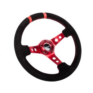 NRG ® - Sport Black Suede Steering Wheel 3 Inch Deep with Red Spokes and Double Markings (ST-016S-RD)