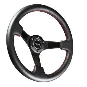 NRG ® - Sport Black Leather Steering Wheel 3 Inch Deep with Carbon Fiber Spokes (ST-006R-CF)