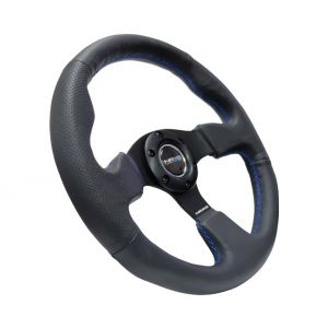 NRG ® - Sport Race Black Leather Steering Wheel with Blue Stitching (ST-012R-BL)