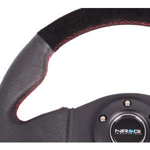 NRG ® - Sport Race Black Suede Steering Wheel with Black Leather Combination and Red Stitching (ST-012RS)