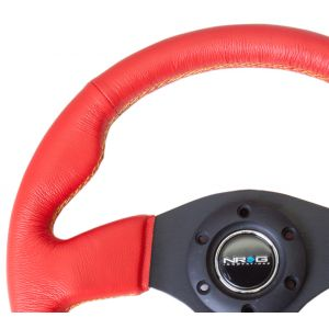 NRG ® - Sport Race Red Leather Steering Wheel with Yellow Stitching (ST-012RR-BS)