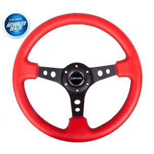 NRG ® - Sport Red Leather Steering Wheel 3 Inch Deep with Black Stitching (ST-006RR-BS)