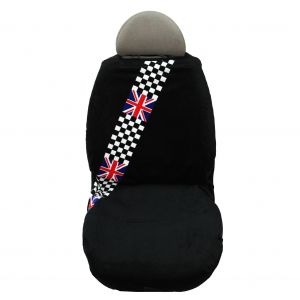 Seat Armour ® - Black Towel Seat Cover with British Checkered Flag (SA100MINCHCK)