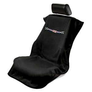 Seat Armour ® - Black Towel Seat Cover with British Checkered Flag (SA100MINICHK)
