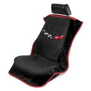 Seat Armour ® - Black Towel Seat Cover with Corvette C5 Logo (SA100COR5B)