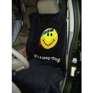 Seat Armour ® - Black Towel Seat Cover with Jeep Smiley Face Logo (SA100JEPSFB)