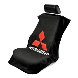 Seat Armour ® - Black Towel Seat Cover with Mitsubishi Logo (SA100MITB)