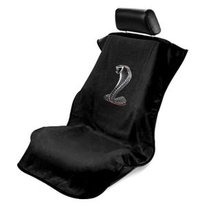 Seat Armour ® - Black Towel Seat Cover with Mustang Cobra Logo (SA100COBB)