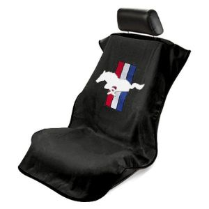 Seat Armour ® - Black Towel Seat Cover with Mustang Pony Logo (SA100MUSB)