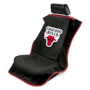 Seat Armour ® - Black Towel Seat Cover with NBA Chicago Bulls Logo (SA100BULLS-B)