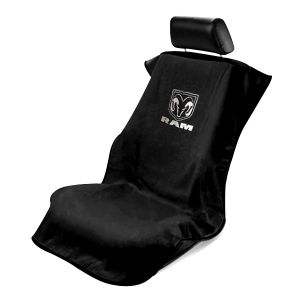 Seat Armour ® - Black Towel Seat Cover with New Dodge Ram Logo (SA100NRAMB)