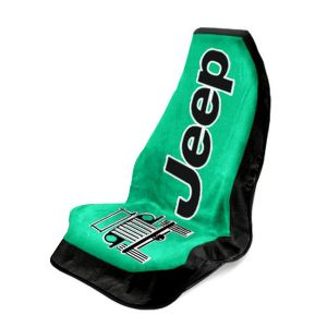 Seat Armour ® - Green Towel 2 Go Seat Cover with Jeep Wrangler Logo (T2G100G)