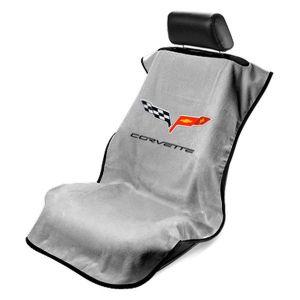 Seat Armour ® - Grey Towel Seat Cover with Corvette C6 Logo (SA100COR6G)