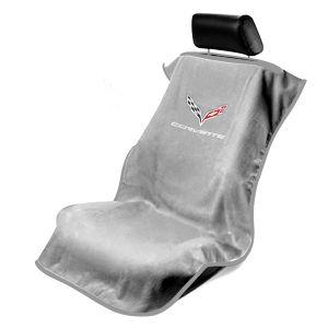 Seat Armour ® - Grey Towel Seat Cover with Corvette C7 Logo (SA100COR7G)