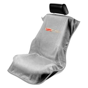 Seat Armour ® - Grey Towel Seat Cover with Corvette Z06 Logo (SA100COR6ZG)