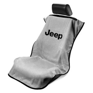Seat Armour ® - Grey Towel Seat Cover with Jeep Letters Logo (SA100JEPG)
