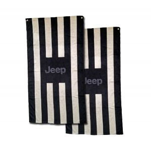 Seat Armour ® - Pair of Black and Gray Striped Towel 2 GO Seat Covers with Jeep Logo (T2G100BGJ)