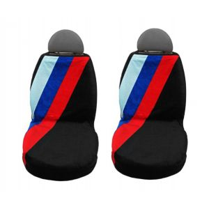 Seat Armour ® - Pair of Black Towel Seat Covers with BMW Three Stripes (SA100STRIPE)