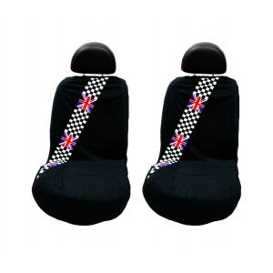 Seat Armour ® - Pair of Black Towel Seat Covers with British Checkered Flag (SA100MINCHCK)