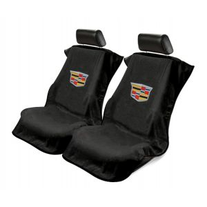 Seat Armour ® - Pair of Black Towel Seat Covers with New Cadillac Logo (SA100NCADB)