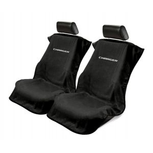 Seat Armour ® - Pair of Black Towel Seat Covers with Charger Logo (SA100CHARGB)