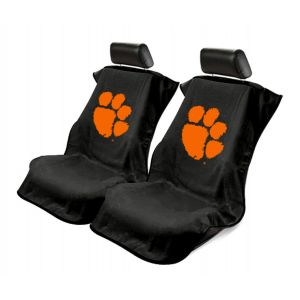 Seat Armour ® - Pair of Black Towel Seat Covers with Clemson University Tigers Logo (SA100CLEMS)