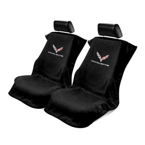 Seat Armour ® - Pair of Black Towel Seat Covers with Corvette C7 Logo (SA100COR7B)