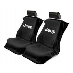 Seat Armour ® - Pair of Black Towel Seat Covers with Jeep Letters Logo (SA100JEPB)