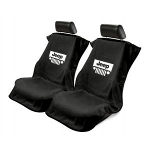 Seat Armour ® - Pair of Black Towel Seat Covers with Jeep with Grille Logo (SA100JEPGB)