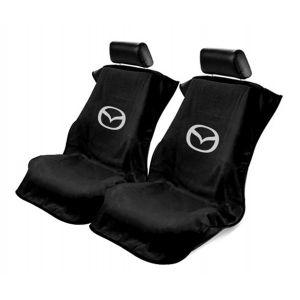 Seat Armour ® - Pair of Black Towel Seat Covers with Mazda Logo (SA100MZDB)