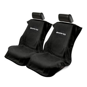 Seat Armour ® - Pair of Black Towel Seat Covers with Mercedes-Benz AMG Logo (SA100AMGB)