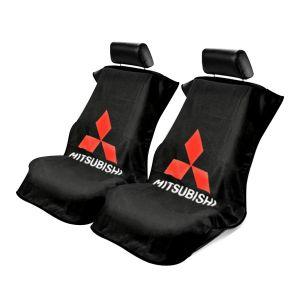 Seat Armour ® - Pair of Black Towel Seat Covers with Mitsubishi Logo (SA100MITB)