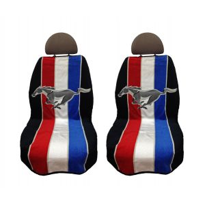 Seat Armour ® - Pair of Black Towel Seat Covers with Mustang Pony Tribar Logo (SA100MUSTRP)