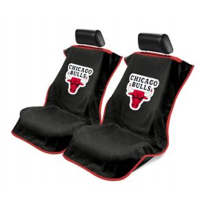 Seat Armour ® - Pair of Black Towel Seat Covers with NBA Chicago Bulls Logo (SA100BULLS-B)
