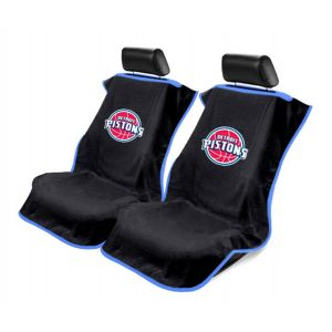 Seat Armour ® - Pair of Black Towel Seat Covers with NBA Detroit Pistons Logo (SA100PIST-B)