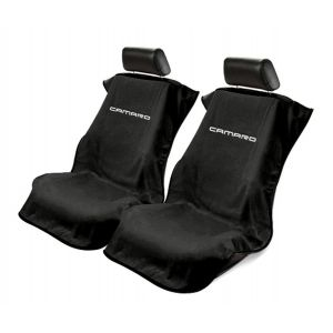 Seat Armour ® - Pair of Black Towel Seat Covers with New Camaro Logo (SA100NCAMB)